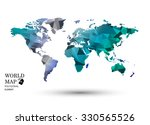 polygonal world map vector. | Shutterstock .eps vector #330565526