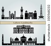 lahore landmarks and monuments... | Shutterstock .eps vector #330568232