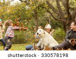 young family with a dog in... | Shutterstock . vector #330578198