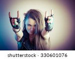 young beautiful and sexy punk... | Shutterstock . vector #330601076
