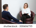 psychologist consulting pensive ... | Shutterstock . vector #330606755