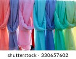 Scarf Foulards In A Row In An...