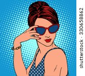 retro fashion girl in... | Shutterstock .eps vector #330658862