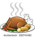 roasted turkey with garnish on... | Shutterstock .eps vector #330741482