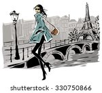 fashion models in sketch style... | Shutterstock .eps vector #330750866