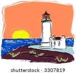 lighthouse on cliff at coast... | Shutterstock .eps vector #3307819