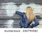 young woman showing copy space... | Shutterstock . vector #330794582