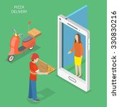 pizza delivery flat isometric... | Shutterstock . vector #330830216