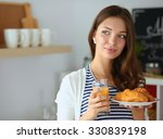 young woman with glass of juice ... | Shutterstock . vector #330839198