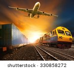 cargo plane and rail transport... | Shutterstock . vector #330858272