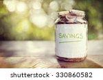savings money jar full of coins ... | Shutterstock . vector #330860582