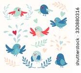 Stock vector cute birds vector card set 330880316
