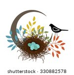 bird with eggs in the nest  | Shutterstock .eps vector #330882578