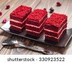red velvet cake on wood board | Shutterstock . vector #330923522