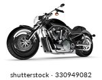 black motorcycle on a white...   Shutterstock . vector #330949082