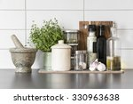 fresh herbs and spices in clean ... | Shutterstock . vector #330963638