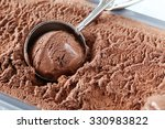 Stock photo chocolate ice cream scooped out from container 330983822