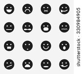 vector set of black smiley icons | Shutterstock .eps vector #330984905