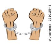 broken chain in handcuffs... | Shutterstock .eps vector #331015946