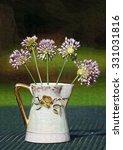 Small photo of Lavender Crow Garlic Allium Wildflowers Vase / Lavender Crow Garlic Allium Wildflowers Vase / Lavender Crow Garlic Allium Wildflowers Vase /