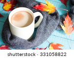 cup of cocoa with autumn leaves ... | Shutterstock . vector #331058822