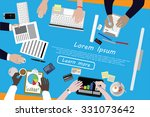 diverse businesspeople working  ... | Shutterstock .eps vector #331073642