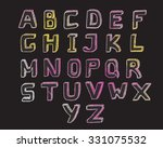 vector hand drawn glow alphabet | Shutterstock .eps vector #331075532