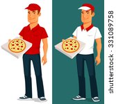 cartoon pizza delivery guy   Shutterstock .eps vector #331089758