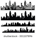 vector black city icons set on... | Shutterstock .eps vector #331107896