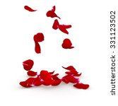 Stock photo petals dark red rose flying on the floor isolated background d render 331123502