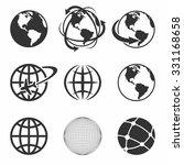 globe earth black icons set....   Shutterstock .eps vector #331168658