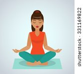 the girl sitting and meditating ...   Shutterstock .eps vector #331169822