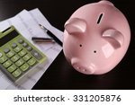 pig moneybox and calculating... | Shutterstock . vector #331205876