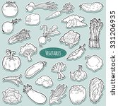 colorless set with vegetables ... | Shutterstock .eps vector #331206935
