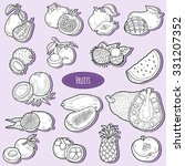 colorless set with tropical... | Shutterstock .eps vector #331207352