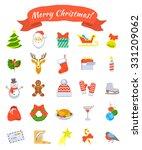 christmas symbols flat vector...