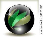 black glossy refracting sphere  ... | Shutterstock .eps vector #33121336