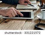 male hand clicks on a blank... | Shutterstock . vector #331221572