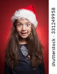 little girl in red santa hat on ... | Shutterstock . vector #331249958
