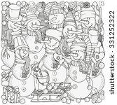 cheerful snowmen. winter  snow  ...   Shutterstock .eps vector #331252322