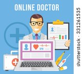 online doctor flat illustration ... | Shutterstock . vector #331261535