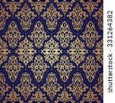 Blue And Gold Luxury Damask...