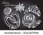 hand drawn set of pastry and... | Shutterstock .eps vector #331267946