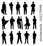 Silhouettes Of Handyman Set Over White Background - stock vector