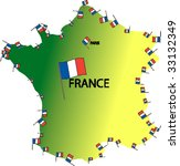 map of france bordered by... | Shutterstock .eps vector #33132349