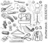 hand drawn sewing icons set... | Shutterstock .eps vector #331332722