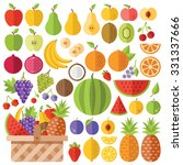 flat fruits icons set. colorful ... | Shutterstock . vector #331337666