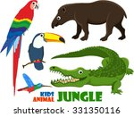 vector set of cute jungle kids...