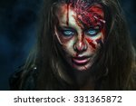scary zombie woman with wounds.  | Shutterstock . vector #331365872