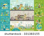 green city infographic set with ... | Shutterstock .eps vector #331383155